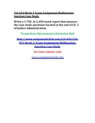 UOP CJA 454 Week 3 Team Assignment Malfunction Junction Case Study