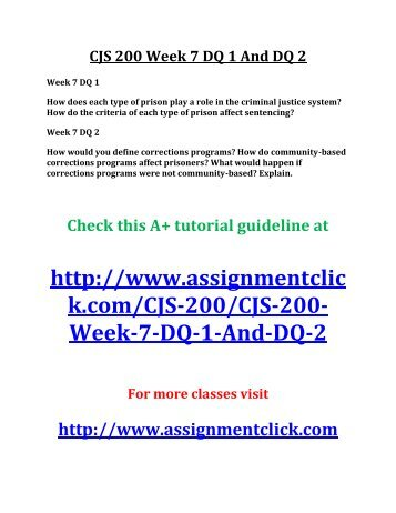 cjs 200 week 3 dq 1 Essays - largest database of quality sample essays and research papers on cjs 200 week 1 checkpoint  , cjs 240 week 1 dq 1 and dq 2.