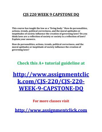 cjs 220 week 9 capstone question Str 581 week 2 capstone final exam part 1 str 581 week 2  capstone  acc 290 week 4 comparative analysis problem amazoncom inc  vs  cjs 220 week 9 appeals process paper cjs 220 week 9 capstone  analysis.