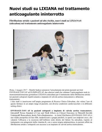 Fibrillazione atriale Nuovi studi su LIXIANA nel trattamento anticoagulante ininterrotto