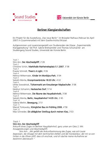 1 Mittermaier Hauptbahnhof, Helmut, 3mn11s - Sound Studies