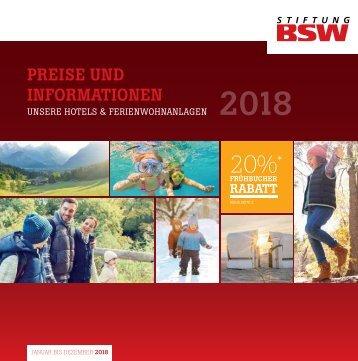 Preisliste BSW Ferieneinrichtungen 2018