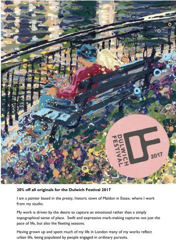 Catalogue of Original Work by Angelique Dulwich Festival Artist Open House 2017