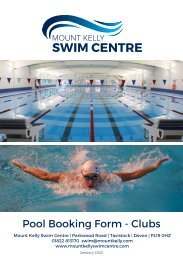 Mount Kelly Swim Centre - Pool and Lane Booking Form