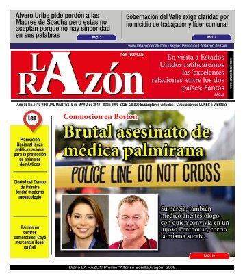 Diario La Razón de Cali, martes 9 de mayo de 2017