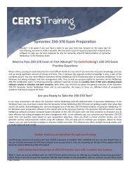 Symantec Administration of Symantec NetBackup 7.0 for Windows Symantec Certified Specialist 250-370 Exam Dumps