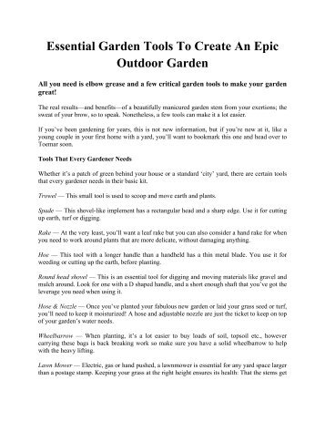 Our range of gardening tools pdf m10 tools for Gardening tools list pdf