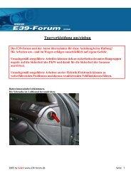Tuerverkleidung aus/einbau - BMW E39-Forum