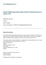 Global Mobile Operating Tables Market Professional Survey Report 2017