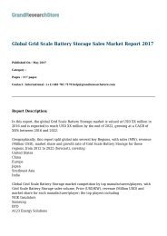 Global Grid Scale Battery Storage Sales Market Report 2017