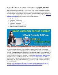 Apple Safari Browser Technical Support Number 1-888-201-2039