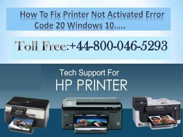 How To Fix Printer Not Activated Error Code 20 in Windows 10? | HP Technical Support Number