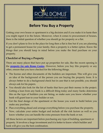 Before You Buy a Property