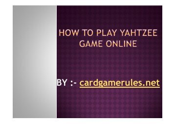 How to play Yahtzee Game online