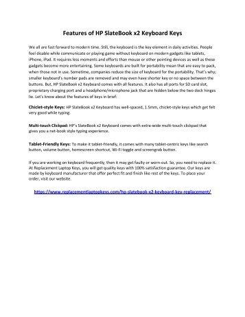 Features of HP SlateBook x2 Keyboard Keys