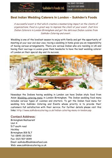 Indian Wedding Caterers In London – Sukhdevs Foods