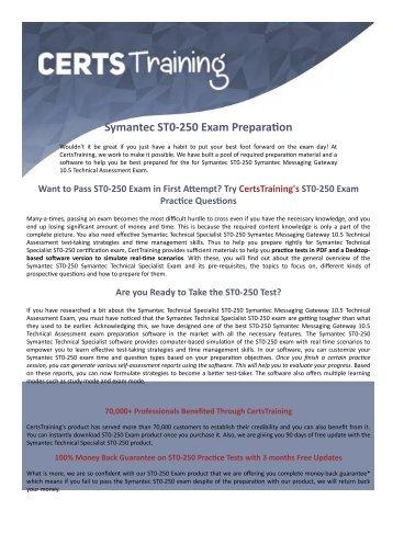Symantec ST0-250 Dumps - Web Gateways Exam Questions