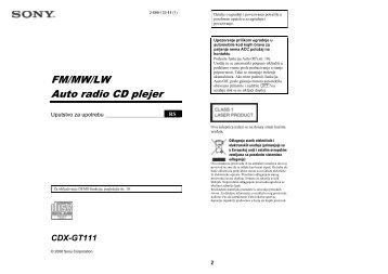 Sony CDX-GT111 - CDX-GT111 Mode d'emploi Serbe