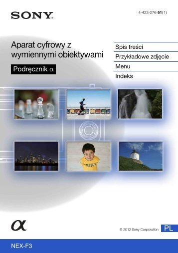 Sony NEX-F3D - NEX-F3D Consignes d'utilisation Polonais