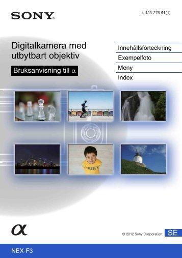 Sony NEX-F3D - NEX-F3D Consignes d'utilisation Suédois