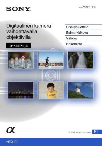 Sony NEX-F3D - NEX-F3D Consignes d'utilisation Finlandais