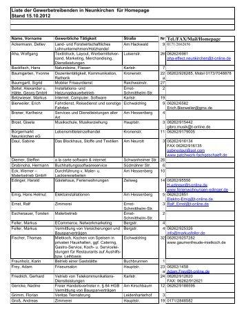 Gewerbeliste Stand 15.10.2012 - Neunkirchen
