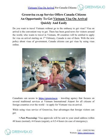 Greenvisa co.op Service Offers Canada Citizens An Opportunity To Get Vietnam Visa On Arrival Quickly And Easily