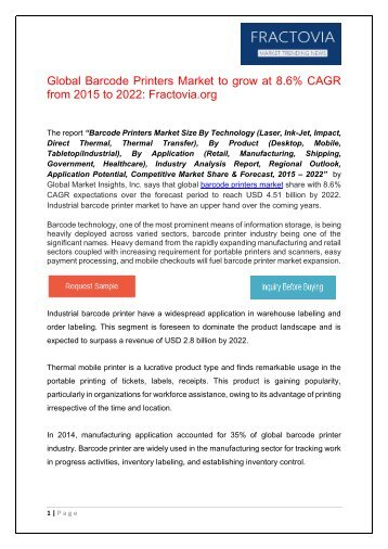 Barcode Printers Market in Retail Sector to exceed USD 800 million by 2022