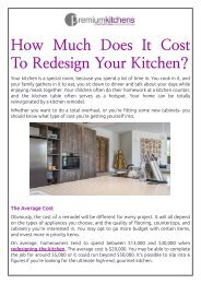 How Much Does It Cost To Redesign Your Kitchen