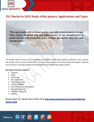 PLC Market to 2022 Study of Key players, Applications and Types