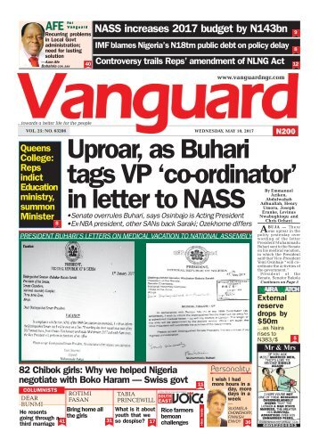 10052017 - Uproar, as Buhari tags VP 'co-ordinator' in letter to NASS