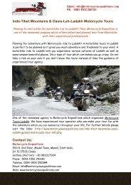 Indo-Tibet Mountains & Oasis-Leh-Ladakh Motorcycle Tours India