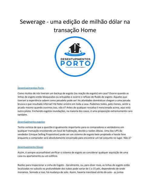 Sewerage - uma edição de milhão dólar na transação Home
