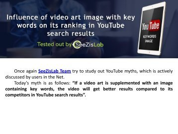 Influence of video art image with key words on its ranking in YouTube search results - SeeZisLab