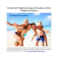 Get the Best Weight Loss Surgery Procedure at Perth Weight Loss Surgery