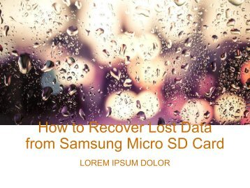 How to Recover Lost Data from Samsung Micro SD Card