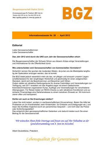 Lebensqualität für Generationen - Baugenossenschaft Glattal Zürich