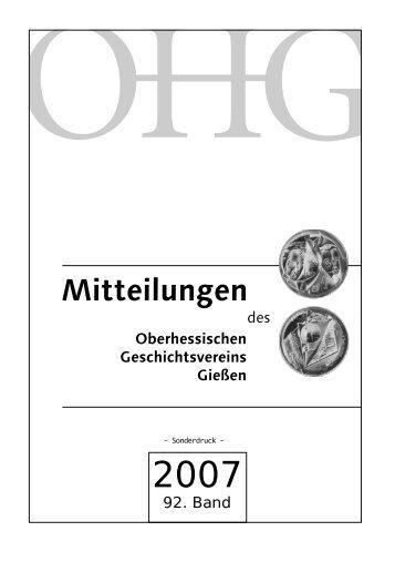 I. Beiträge - Oberhessischer Geschichtsverein Gießen e. V.