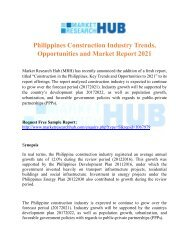 Philippines Construction Industry Trends, Opportunities and Market Report 2021