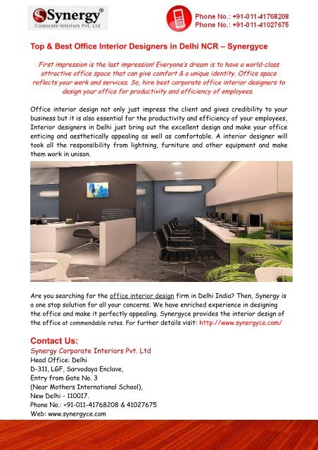 Top Best Office Interior Designers In Delhi Ncr Synergyce