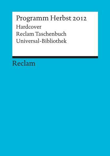 Reclam Programm Herbst 2012 | Hardcover | Reclam Taschenbuch ...