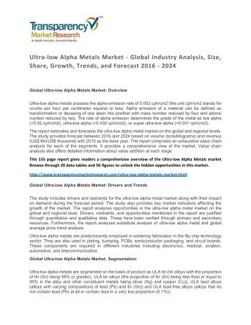 Ultra-low Alpha Metals Market Size, Share, Growth, Trends, and Forecast 2016 – 2024