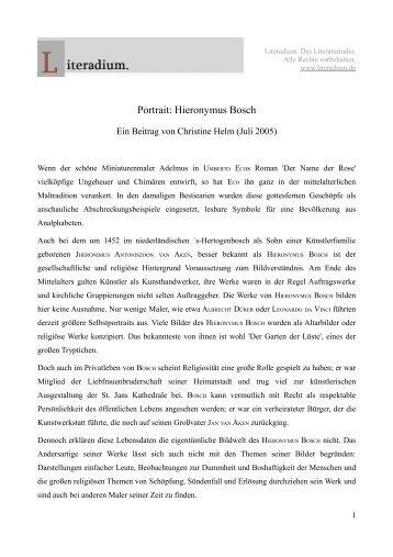 Portrait: Hieronymus Bosch - Literadium