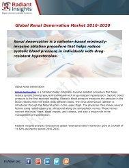 Global Renal Denervation Market and Forecast Report to 2020:Radiant Insights, Inc