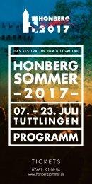 Das Programmheft zum Honberg-Sommer 2017