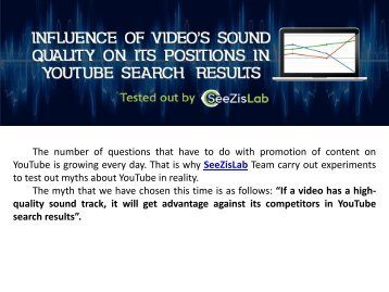 Influence of video's sound quality on its positions in YouTube search results - SeeZisLab
