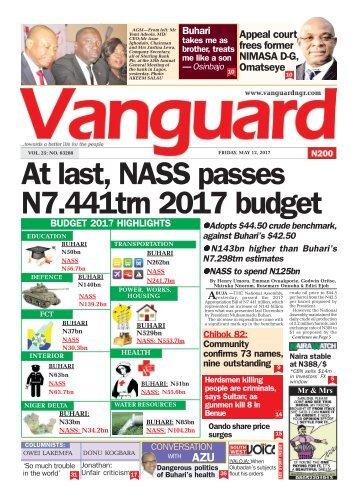 12052017 - At last, NASS passes N7.441trn 2017 budget