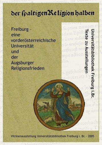 Universitätsbibliothek Freiburg i.Br. Texte zu Ausstellungen
