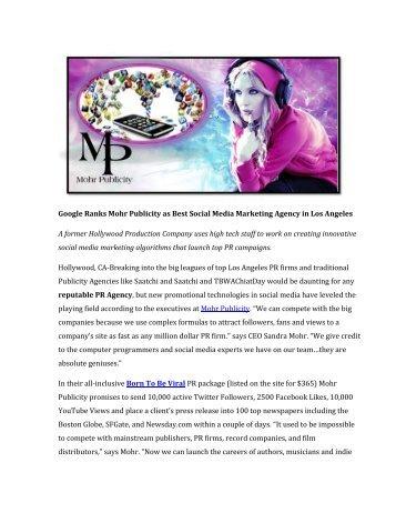 Google Ranks Mohr Publicity as Best Social Media Marketing Agency in Los Angeles