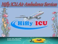 Charted Aircraft with ICU Facility in Bangalore and Ranchi by Hifly ICU